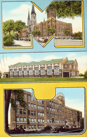 Linen postcard Marquette University - Milwaukee,Wisconsin