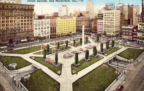 Linen postcard - Union Square - San Francisco,California