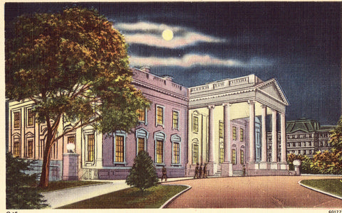 Linen postcard Moon View of The White House - Washington,D.C.