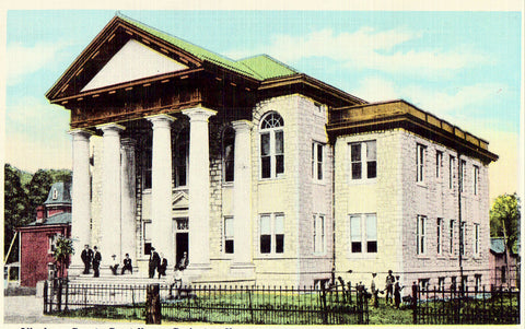 Linen postcard Alleghany County Court House - Covington,Virginia