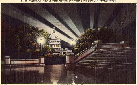 Linen postcard U.S. Capitol from The Steps of The Library of Congress - Washington,D.C.