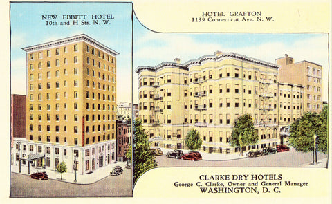 Linen postcard - Clarke Dry Hotels - Washington,D.C.