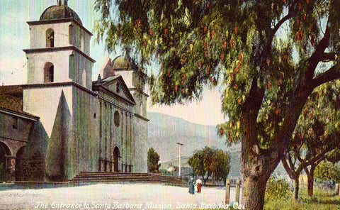 Vintage postcard The Entrance to Santa Barbara Mission - Santa Barbara,California