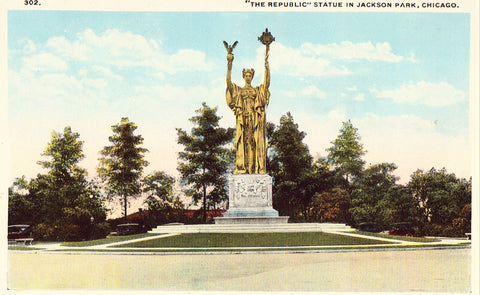 "Vintage postcard ""The Republic"" Statue in Jackson Park - Chicago,Illinois"