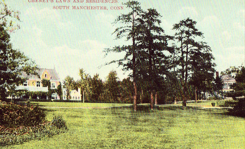 Vintage postcard Cheney's Lawn and Residences - South Manchester,Connecticut