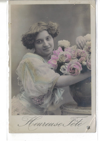 Tinted RPPC-Girl with Roses 1909 - Cakcollectibles - 1
