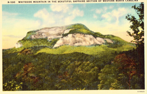 Linen postcard Whiteside Mountain in The Sapphire Section of Western North Carolina