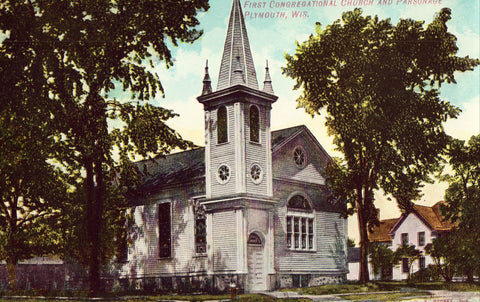 Vintage postcard First Congregational Church and Parsonage - Plymouth,Wisconsin