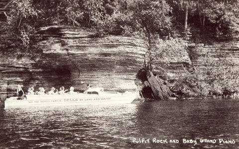 Real Photo Postcard Pulpit Rock and Baby Grand Piano - Wisconsin