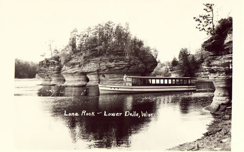 Real Photo Postcard Lone Rock - Lower Dells - Wisconsin