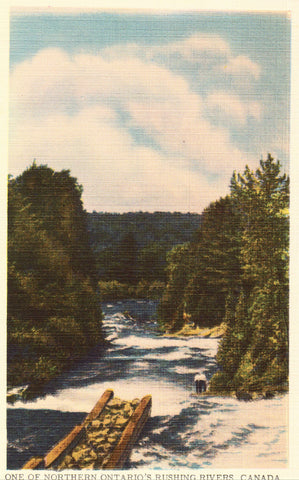 Linen postcard One of Northern Ontario's Rushing Rivers - Canada