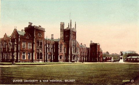Vintage postcard Queen's University & War Memorial - Belfast