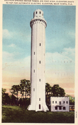 Vintage postcard Sulphur Springs Water Tower near Tampa,Florida