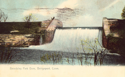 Retro postcard Beardsley Park Dam - Bridgeport,Connecticut