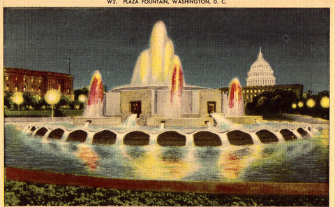 Linen postcard Plaza Fountain - Washington,D.C.