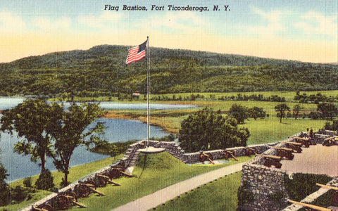 Linen postcard Flag Bastion - Fort Ticonderoga,New York