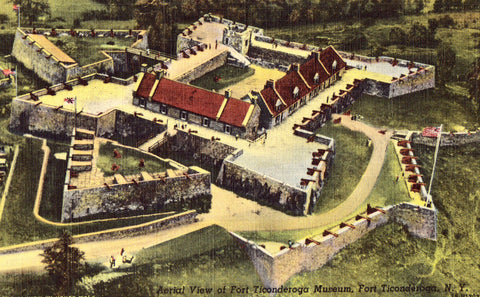 Linen postcard Aerial View of Fort Ticonderoga Museum - Fort Ticonderoga,New York