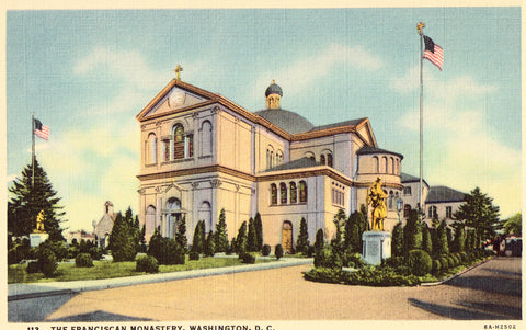 Linen postcard The Franciscan Monastery - Washington,D.C.