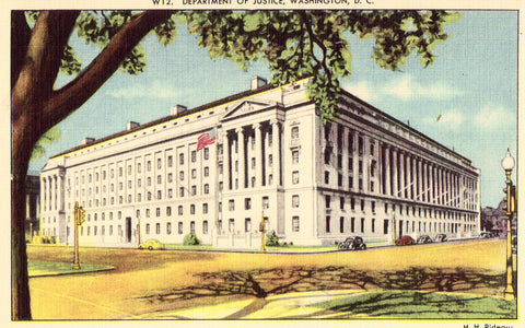 Linen postcard Department of Justice - Washington,D.C.