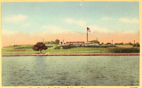 Linen postcard Panorama View,Historic Fort McHenry - Baltimore,Maryland