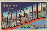 Greetings from Zanesville,Ohio - Large Letter Linen Postcard Post Card - 1