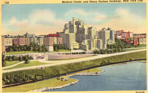 Linen postcard Medical Center and Henry Hudson Parkway - New York City