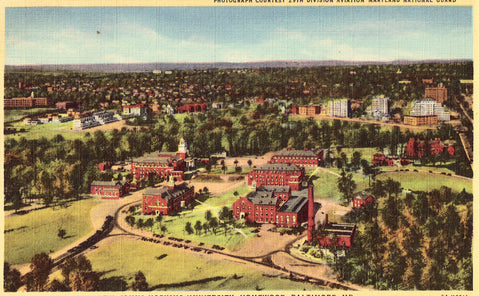 Linen postcard Aeroplane View,Johns Hopkins University,Homewood,Baltimore,Maryland