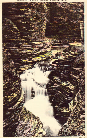 Linen postcard Diamond Falls - Watkins Glen,New York