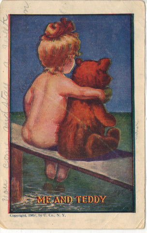 """Me and Teddy"" Antique Post Card"