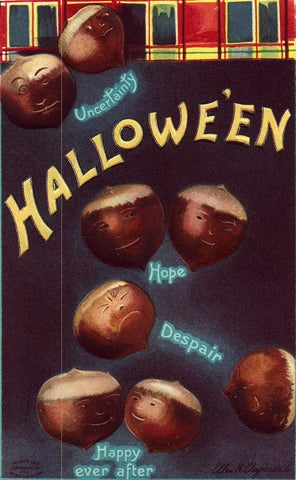 Vintage Halloween Postcard, Halloween Acorns with Faces, Clapsaddle Signed, 1910