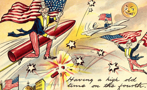 Vintage Postcard, Fourth of July Greetings, Uncle Sam, Fireworks, 1908