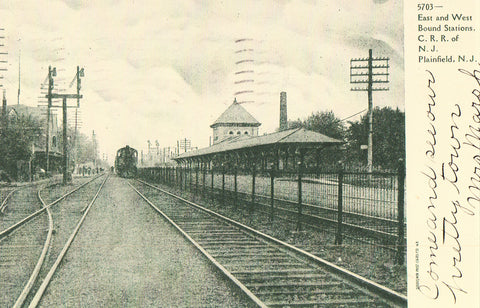 Vintage Postcard, Plainfield, New Jersey, Railroad Stations, 1906