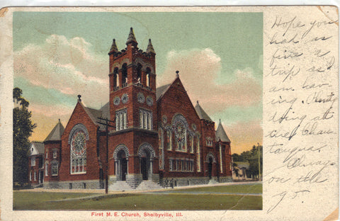 First M.E. Church- Shelbyville,Illinois 1908 Post Card - 1