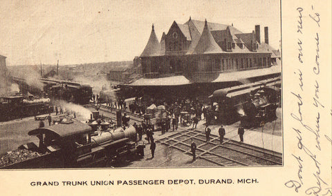 Vintage Postcard, Durand, Michigan, Grand Trunk Union Passenger Depot, 1909