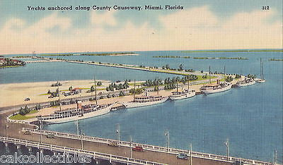 Yachts Anchored along County Causeway-Miami,Florida - Cakcollectibles