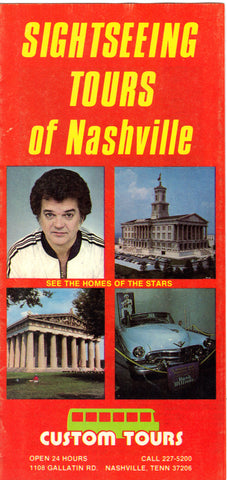 Vintage Sightseeing Tour of Nashville Travel Brochure Brochure