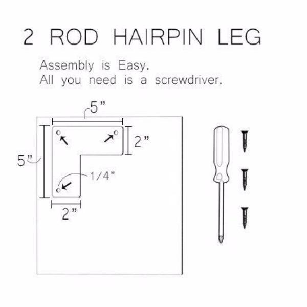 2 Rod Hairpin Leg - Any Size, Any Color
