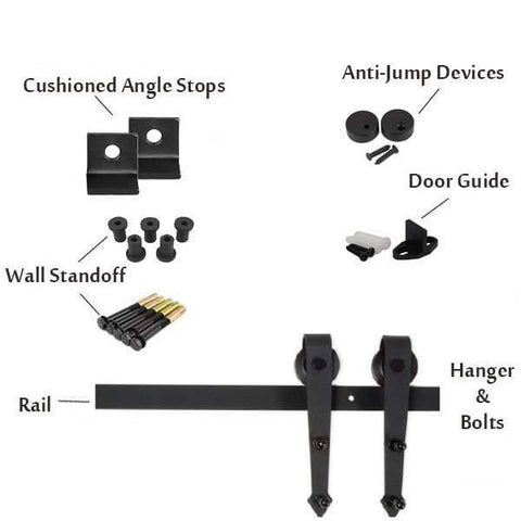 Pointed Barn Door Hardware Kit
