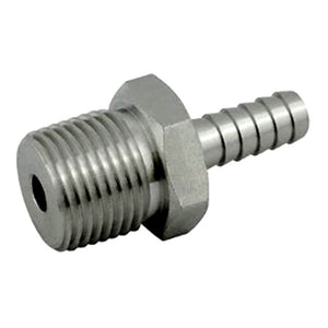 1/2in MPT x 3/8in Barbed Stainless Steel Hose Stem