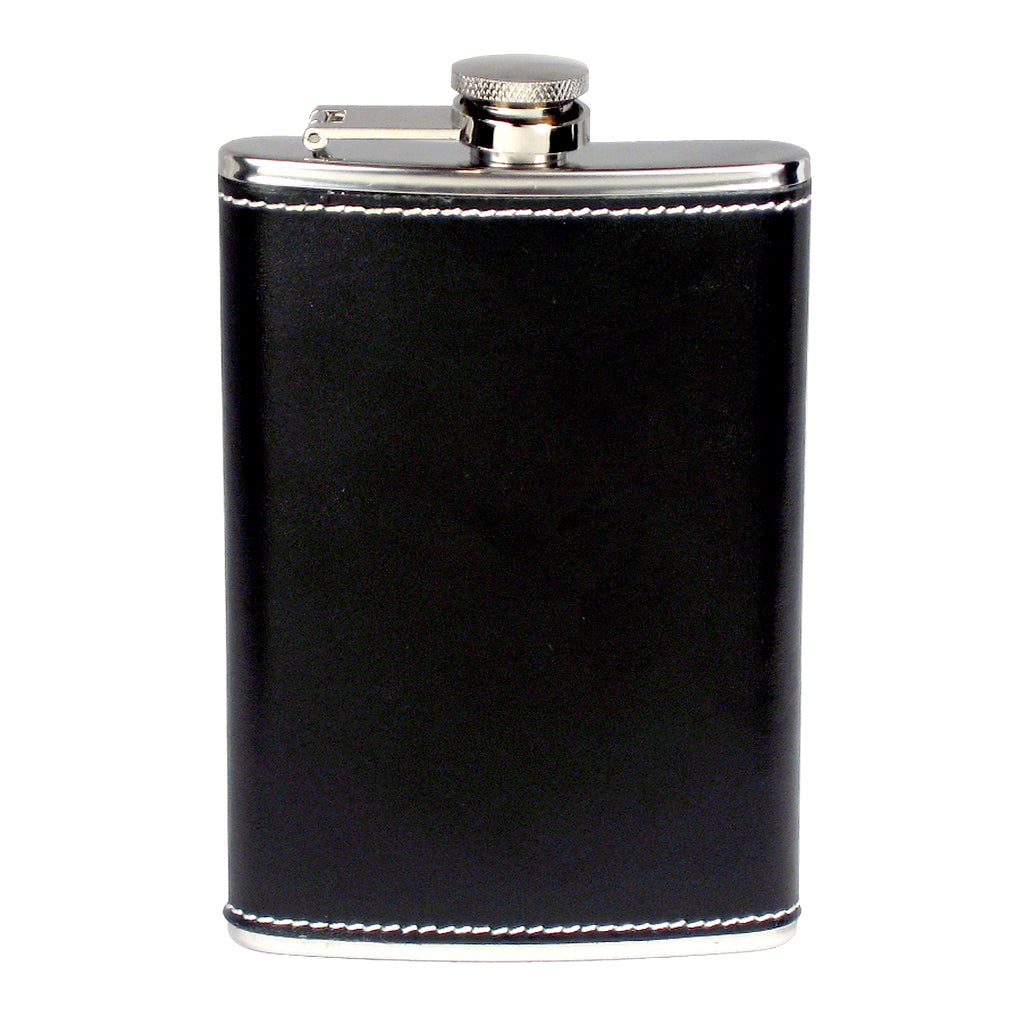 8oz Stainless Steel Flask With Stitched Black Leather