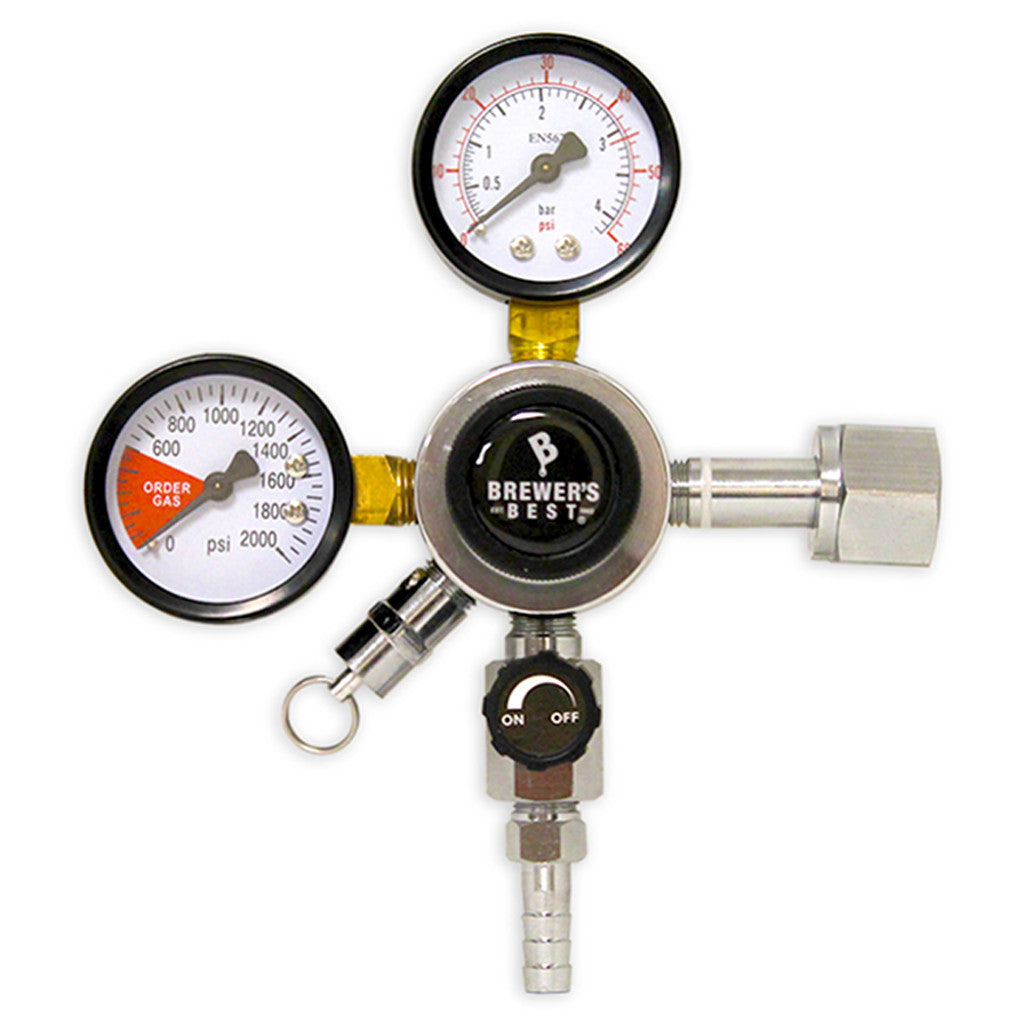 Brewer's Best Primary Dual Gauge CO2 Regulator with 5/16in Barbed Shutoff Valve (0 - 30 PSI)