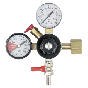 Primary Dual Gauge CO2 Regulator with 5/16in Shutoff Valve (0 - 60 PSI)