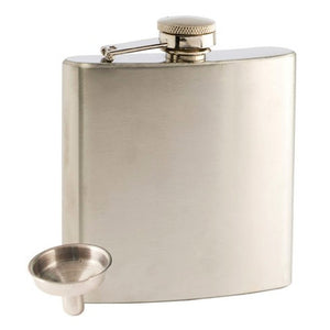 6oz Polished Stainless Steel Flask and Funnel Set