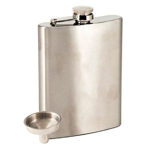 8oz Polished Stainless Steel Flask and Funnel Set
