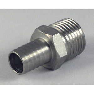 1/2in MPT x 1/2in Barbed Stainless Steel Hose Stem