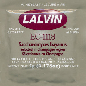 Lalvin EC-1118 Wine Yeast, 5 grams
