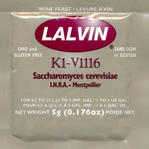 Lalvin K1-V1116 Wine Yeast, 5 grams