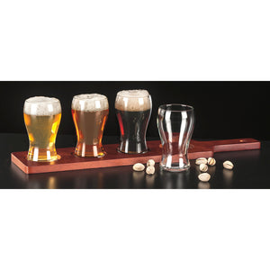Set of 4 Libbey 5oz Mini Pub Glasses (4809) and Wood Serving Flight