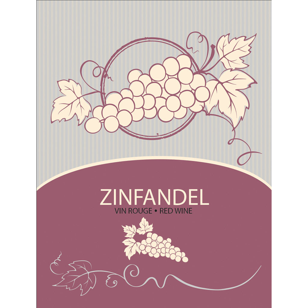 Zinfandel Wine Bottle Labels - 30-Pack