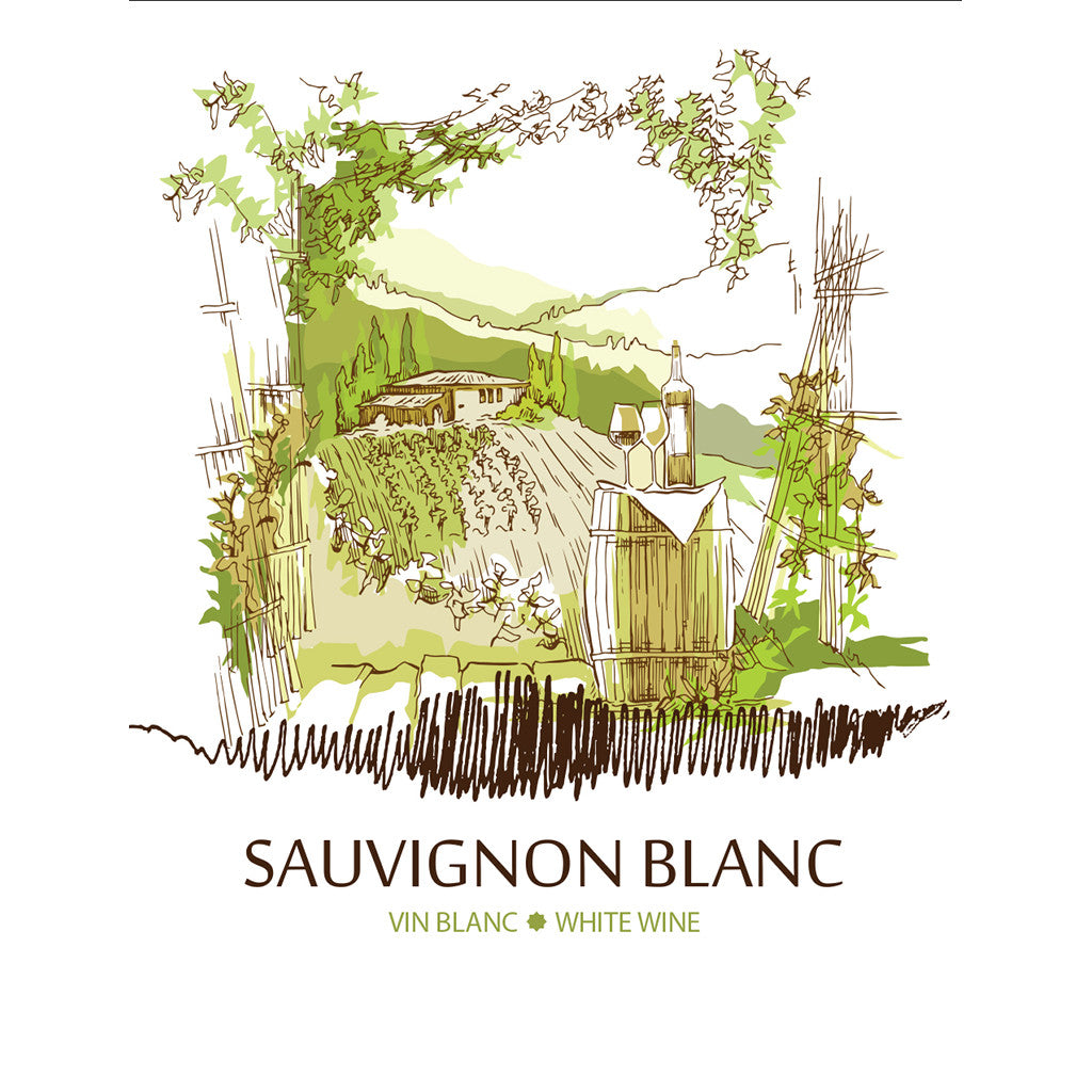 Sauvignon Blanc Adhesive Wine Bottle Labels - 30-Pack